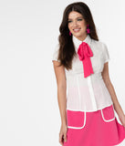 Smak Parlour White & Hot Pink Neck Tie Power Play Blouse