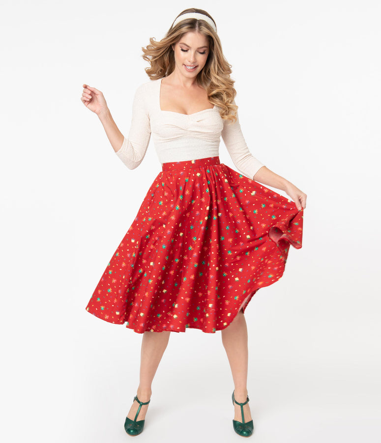 Retro Red & Holiday Gift Print High Waist Swing Skirt