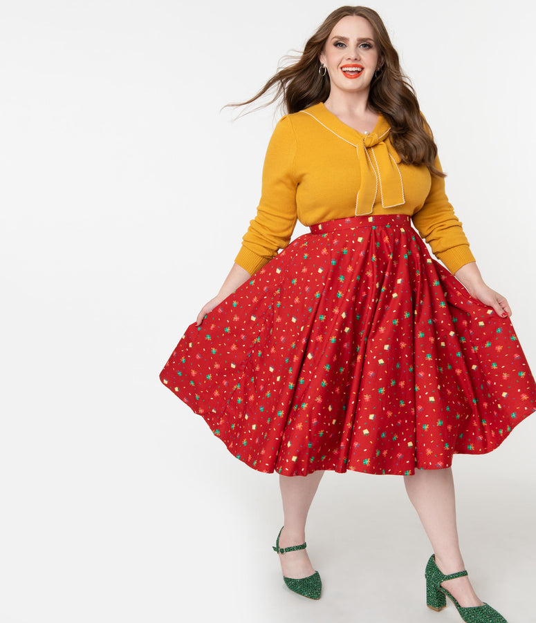 Plus Size Retro Red & Holiday Gift Print High Waist Swing Skirt