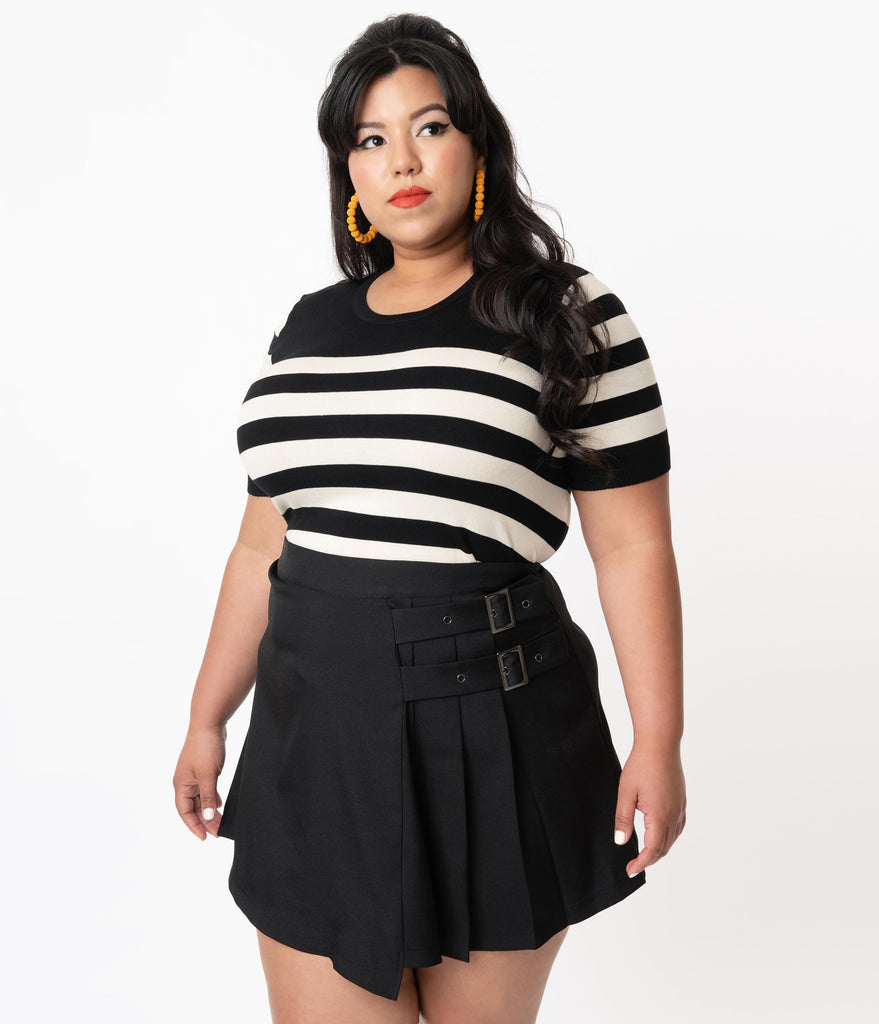Plus Size Black & White Sailor Striped Knit Top