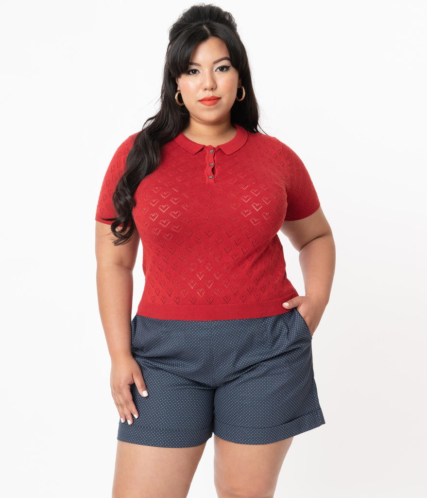 Plus Size 1950s Red Perforated Hearts Smart Love Knit Top