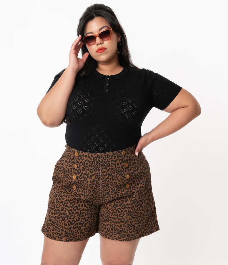 Plus Size 1950s Style Brown Leopard Print Wild Child Shorts