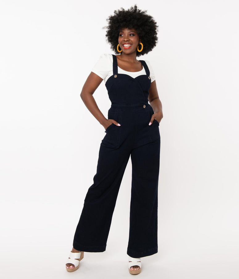 Retro Style Navy Denim Cute Days Jumpsuit