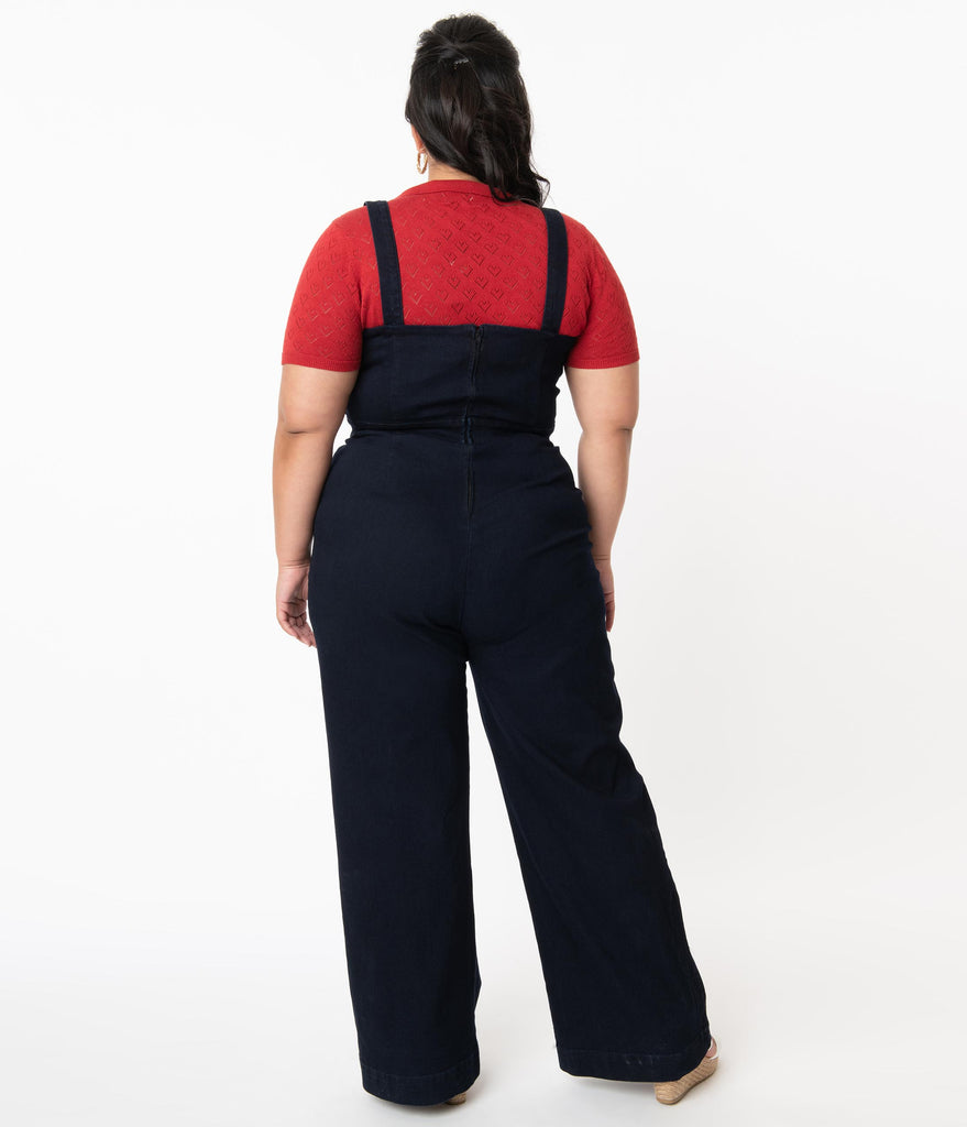 Plus Size Retro Style Navy Denim Cute Days Jumpsuit