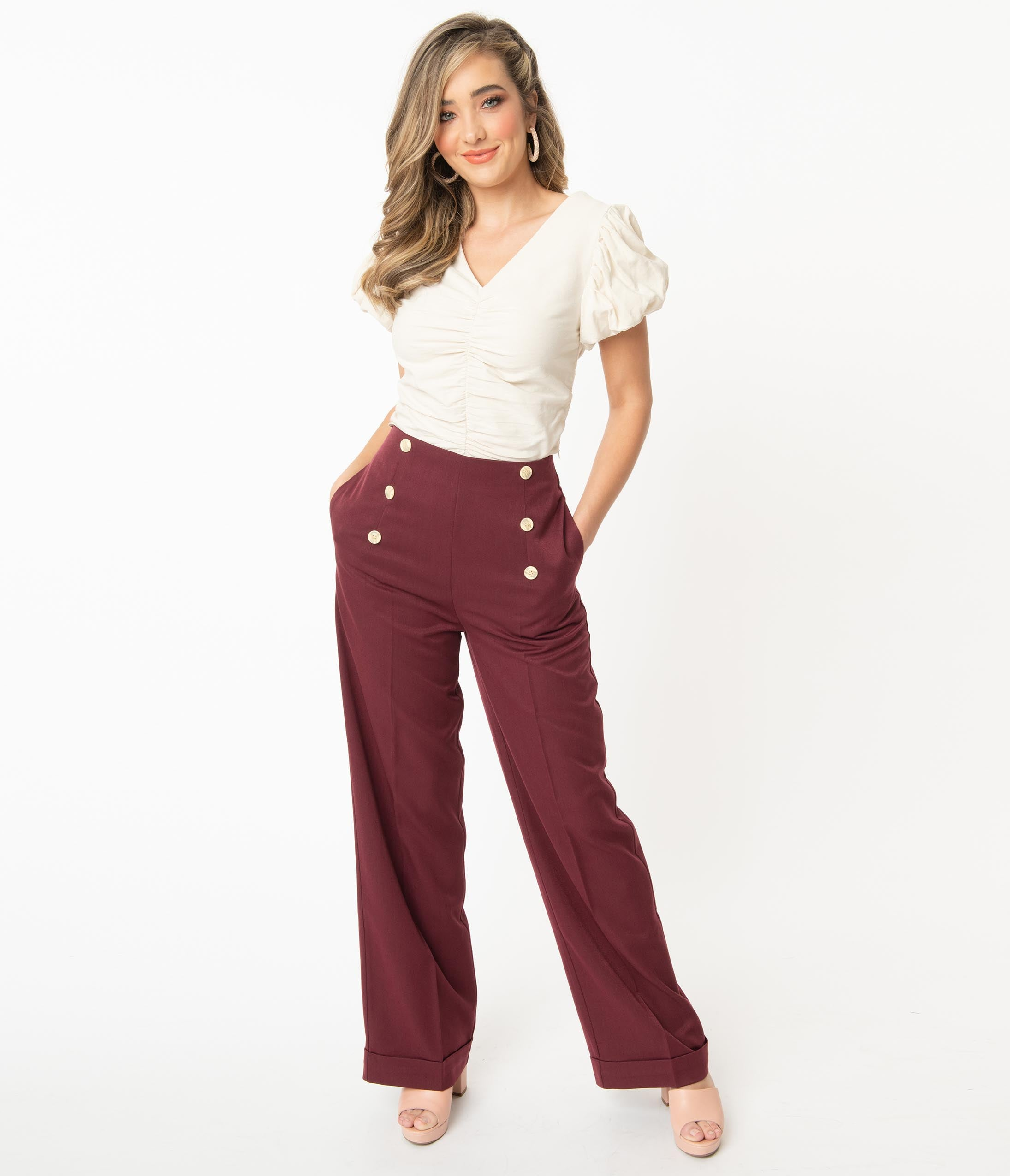 70s Clothes | Hippie Clothes & Outfits 1970S Style Burgundy Day To Night High Waist Pants $58.00 AT vintagedancer.com