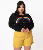 Plus Size 1950s Black & Rainbow Cardigan