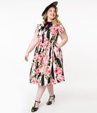 Unique Vintage Plus Size Black Stripe & Pink Floral Cora Swing Dress