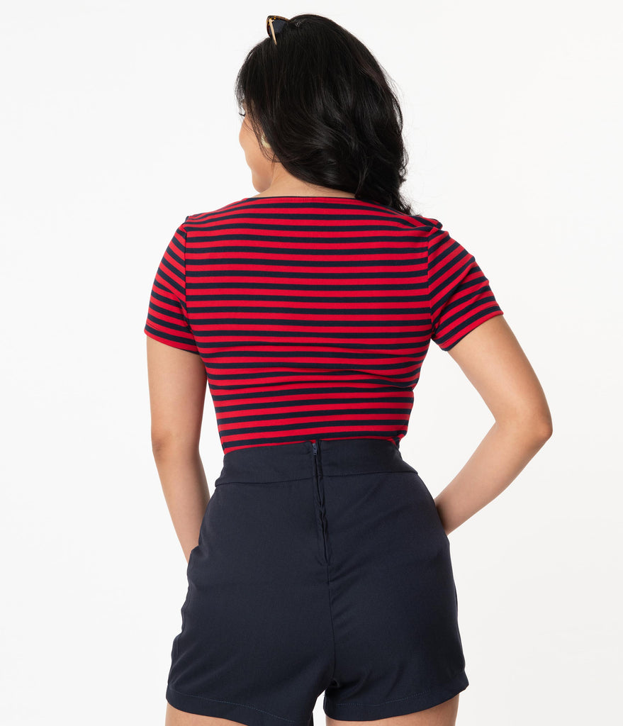 Unique Vintage Navy & Red Stripe Sweetheart Ruthie Top