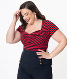 Unique Vintage Plus Size Navy & Red Stripe Sweetheart Ruthie Top