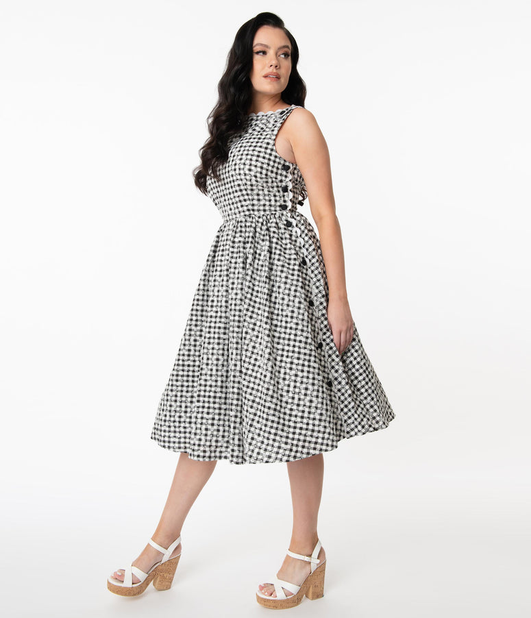 Unique Vintage Black Gingham Eyelet Livvie Swing Dress