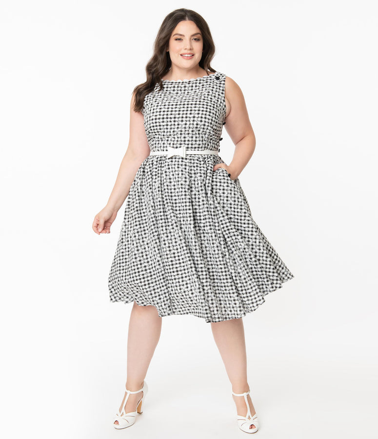 Unique Vintage Plus Size Black Gingham Eyelet Livvie Swing Dress