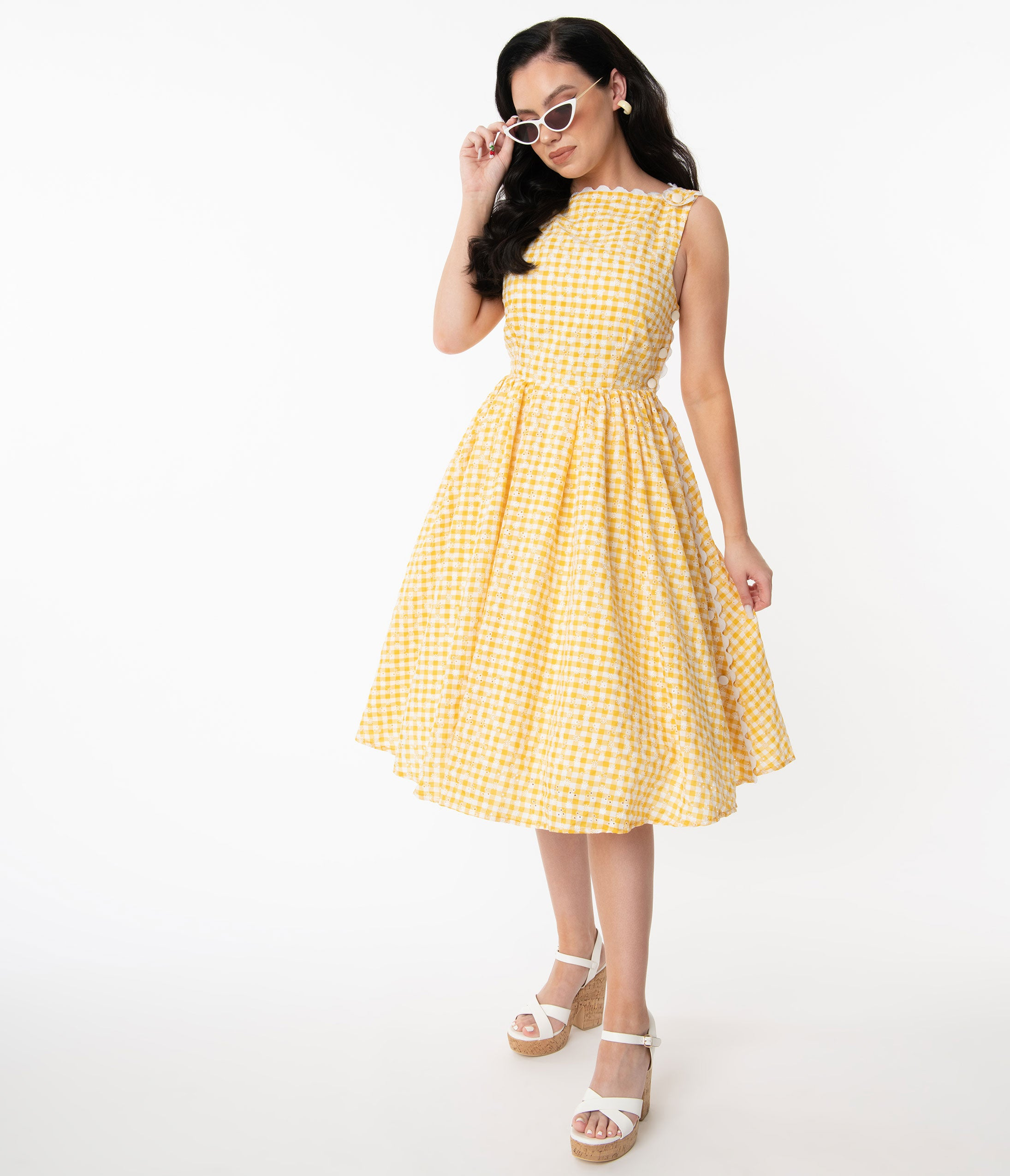 Vintage Western Wear Clothing, Outfit Ideas Unique Vintage Yellow Gingham Eyelet Livvie Swing Dress $98.00 AT vintagedancer.com