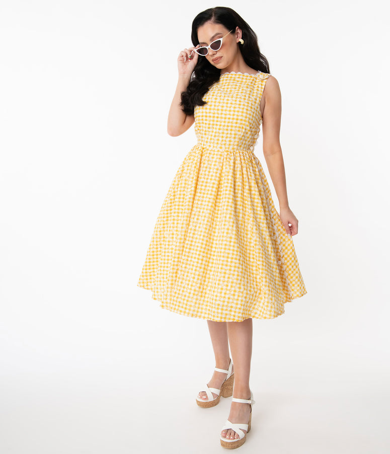 Unique Vintage Yellow Gingham Eyelet Livvie Swing Dress