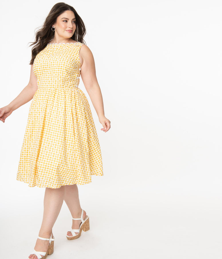 Unique Vintage Plus Size Yellow Gingham Eyelet Livvie Swing Dress