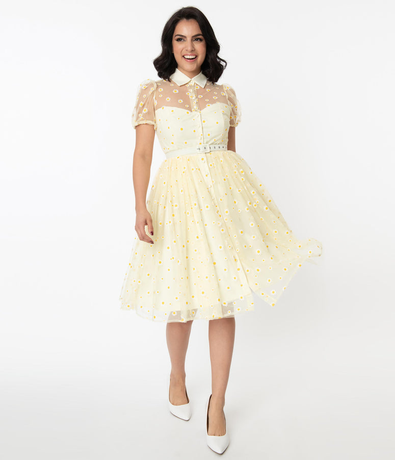 Unique Vintage Yellow & White Daisy Print Hollie Swing Dress