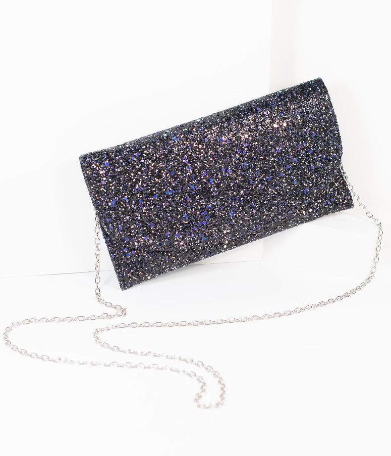 Black Iridescent Glitter Envelope Clutch