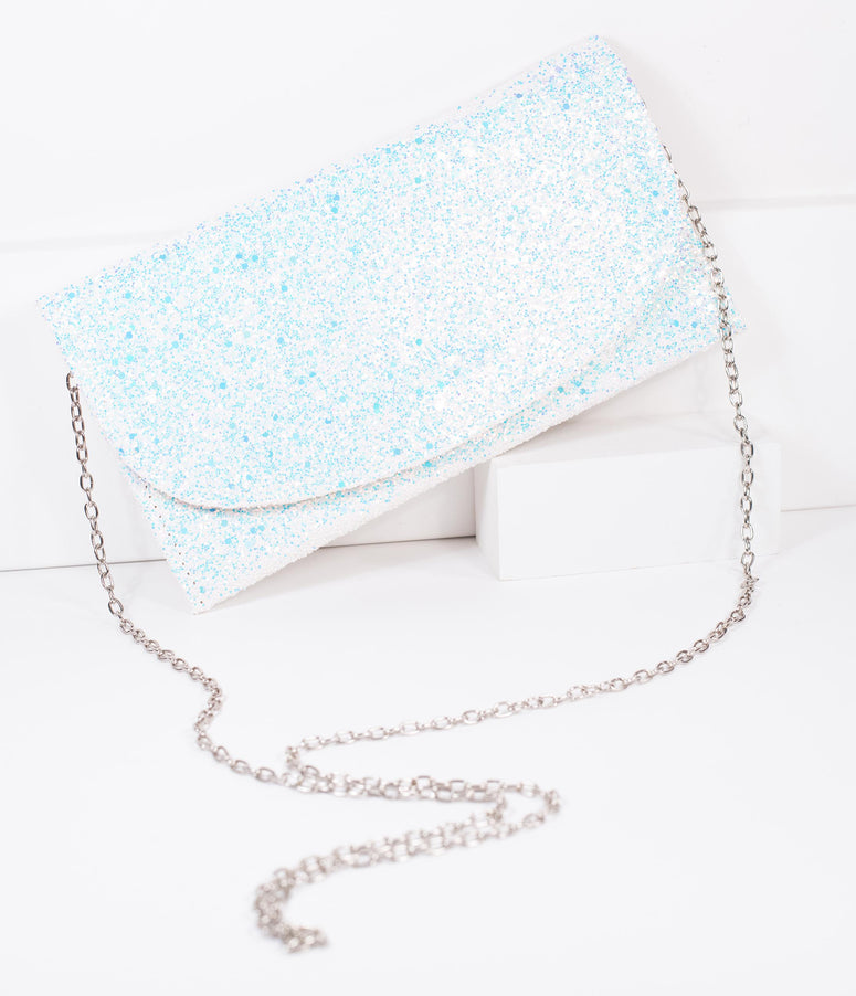 White Iridescent Glitter Envelope Clutch