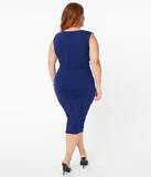 Unique Vintage Plus Size 1960s Navy Blue Davenport Wiggle Dress