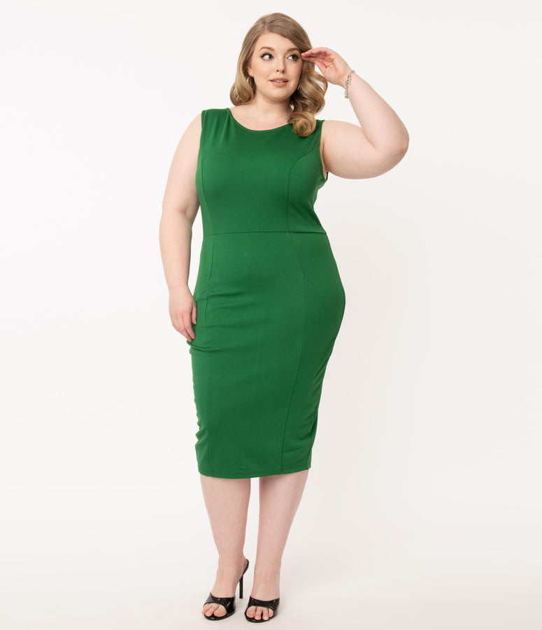 Unique Vintage Plus Size 1960s Green Davenport Wiggle Dress