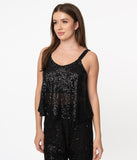 Black Sequin Crop Tank Top