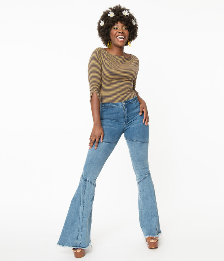 Light Blue Denim Wash Bell Bottoms