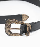 Black Leatherette Western Buckle Belt