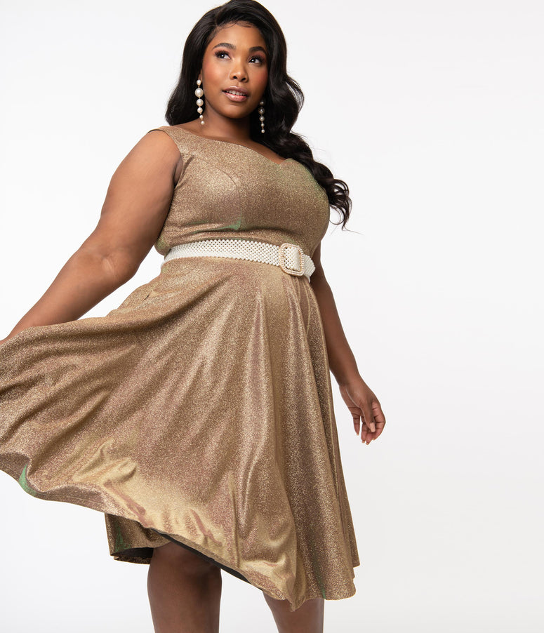 Plus Size 1950s Iridescent Rose Gold Sparkle Martina Swing Dress