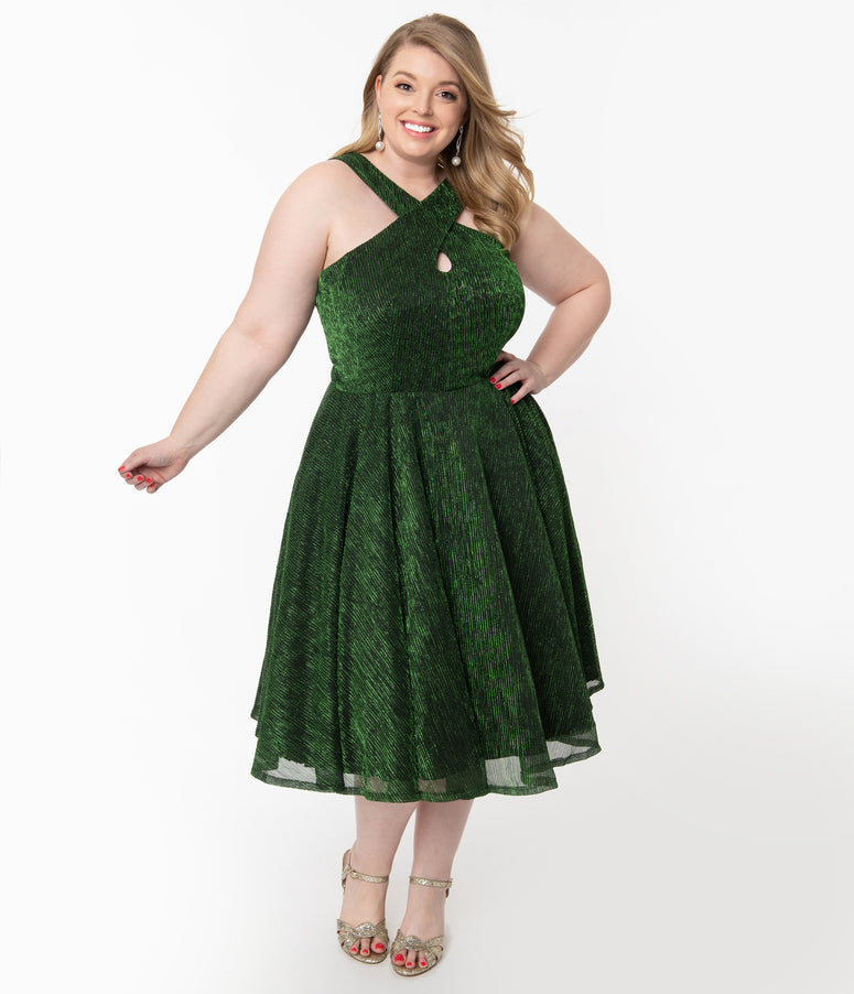 Plus Size Metallic Green Ribbed Valentina Swing Dress