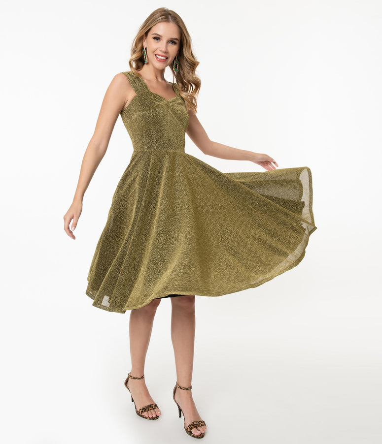 1950s Gold Sparkle Layla Swing Dress
