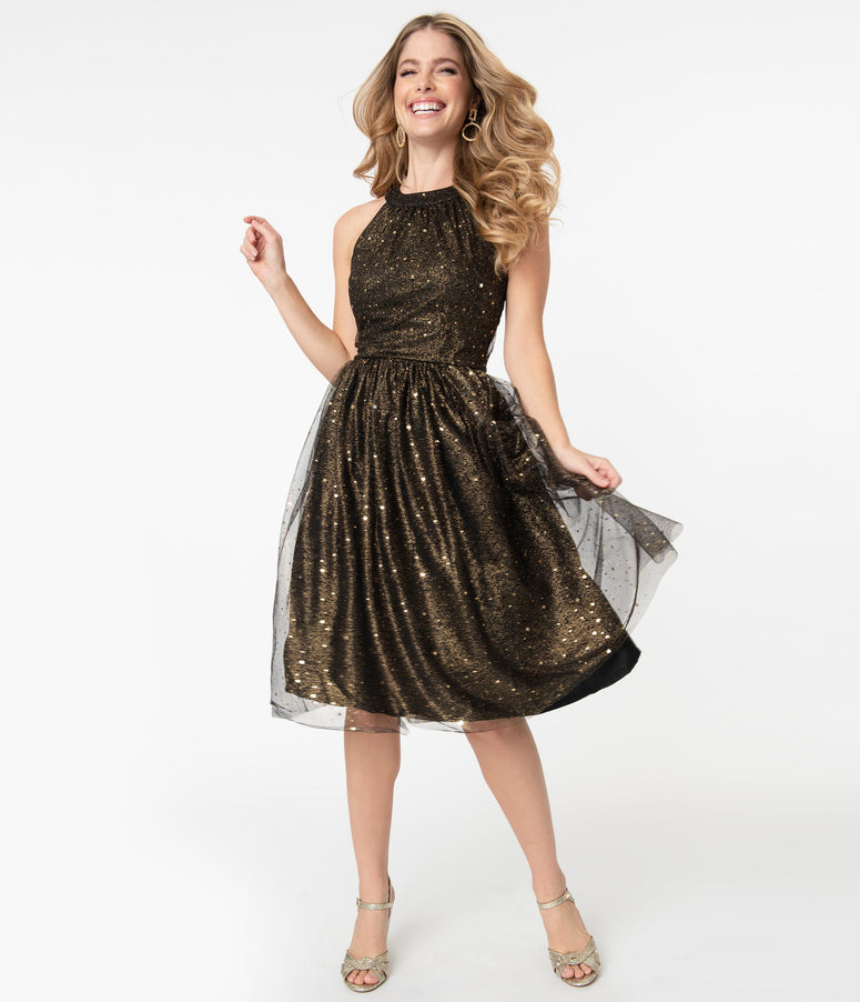 Black & Gold Glitter Stars Alexa Swing Dress