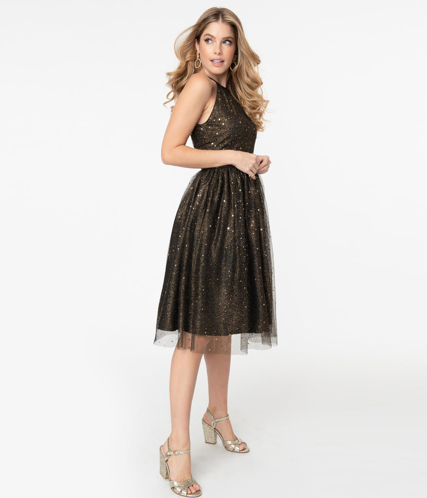 Magnolia Place Black & Gold Glitter Stars Alexa Swing Dress