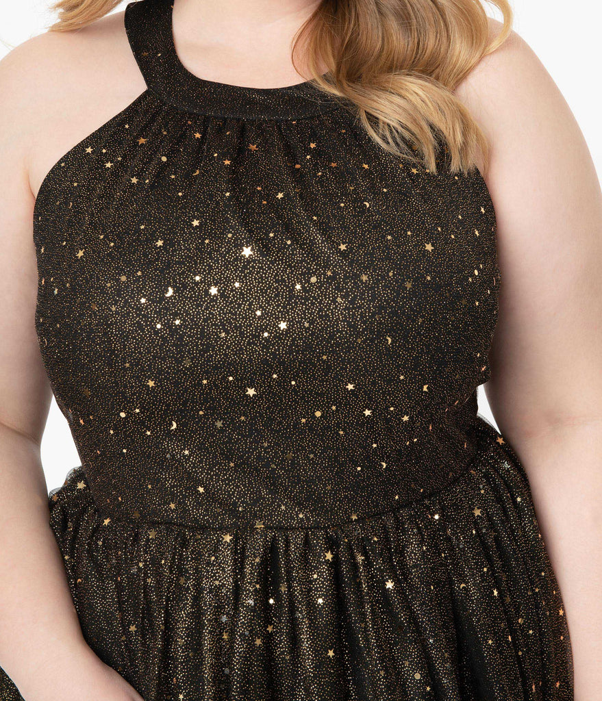 Magnolia Place Plus Size Black & Gold Glitter Stars Alexa Swing Dress