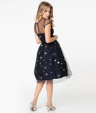 1950s Midnight & Sparkling Stars Melissa Swing Dress