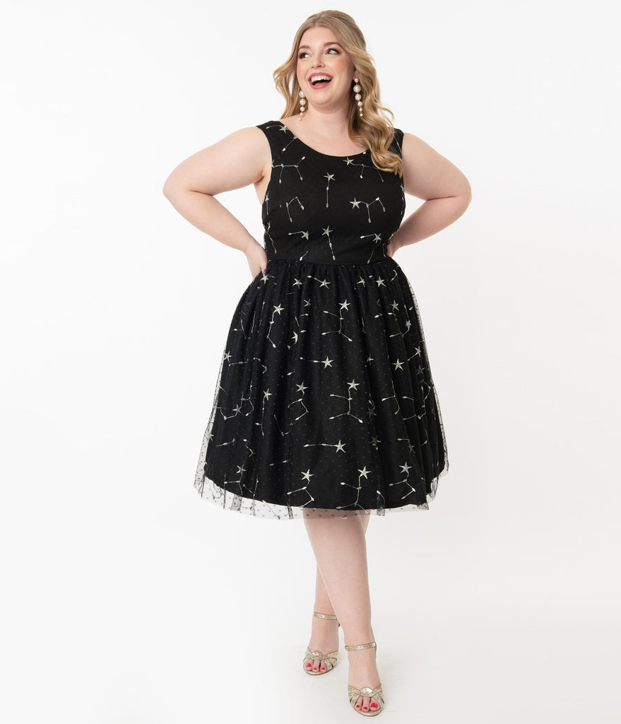 Plus Size Black & Silver Constellation Embroidery Belle Swing Dress