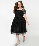 Magnolia Place Plus Size Black Sparkling Leopard Print Dorothy Swing Dress