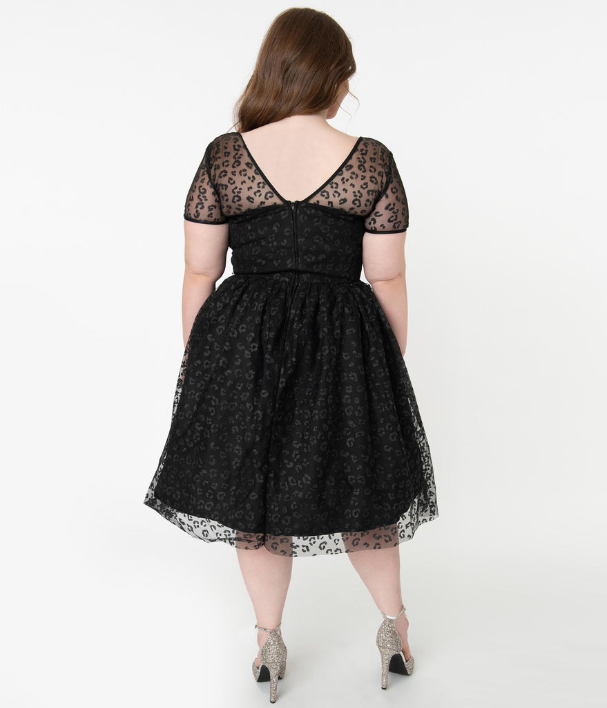 Plus Size Black Sparkling Leopard Print Dorothy Swing Dress
