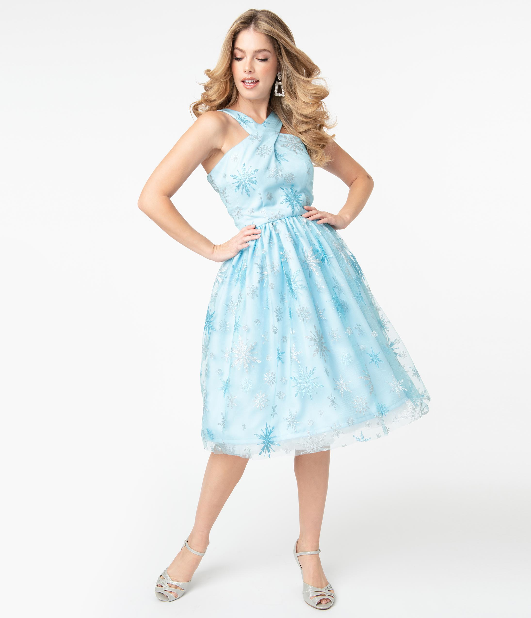 What Did Women Wear in the 1950s? 1950s Fashion Guide Light Blue  Silver Snowflake Valentina Swing Dress $88.00 AT vintagedancer.com