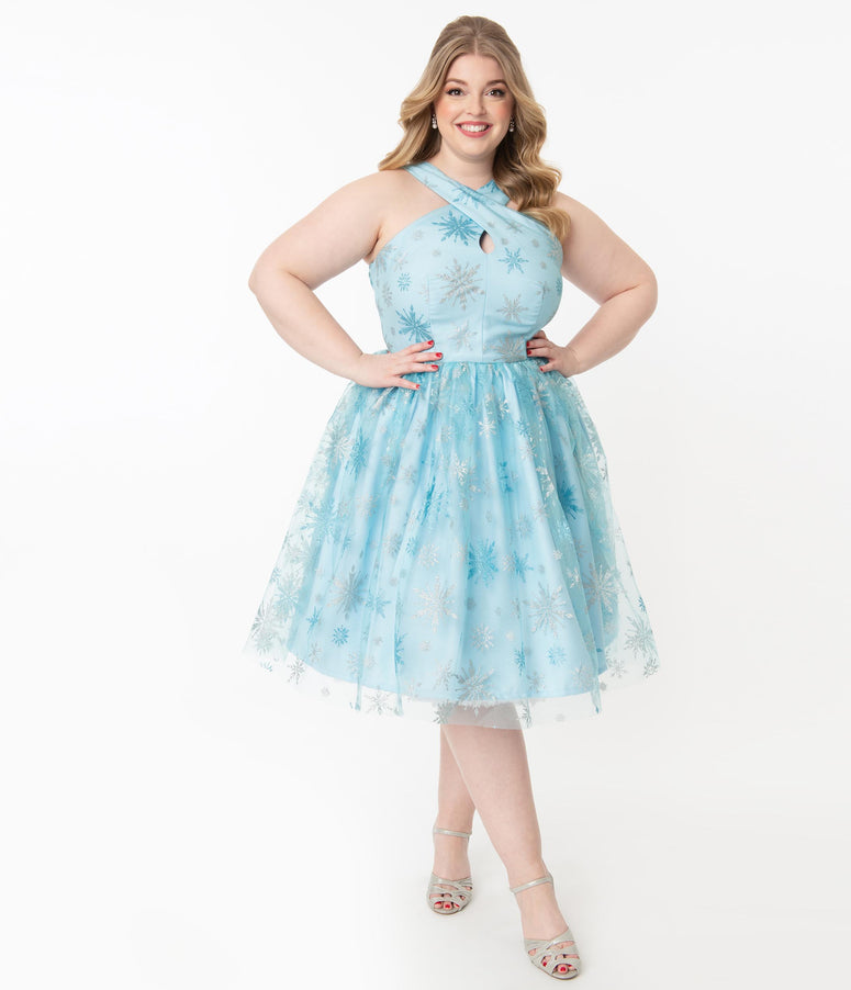 Plus Size Light Blue & Silver Snowflake Valentina Swing Dress