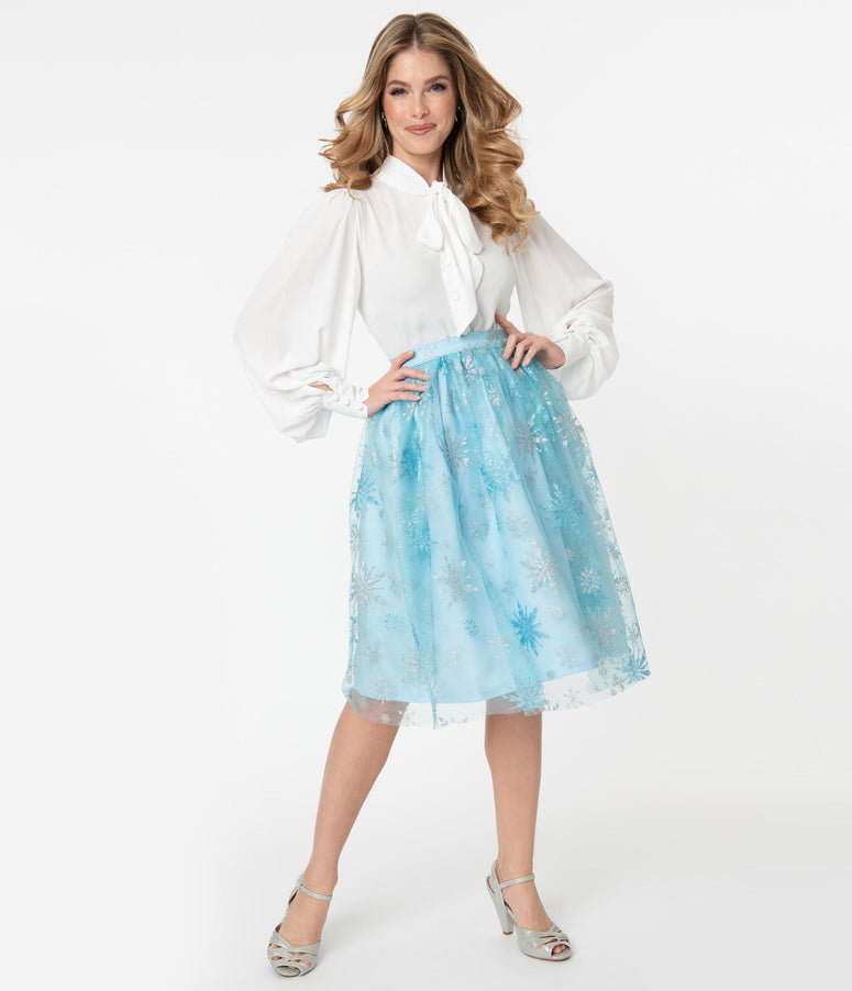 Light Blue & Silver Snowflake Tulle Swing Skirt