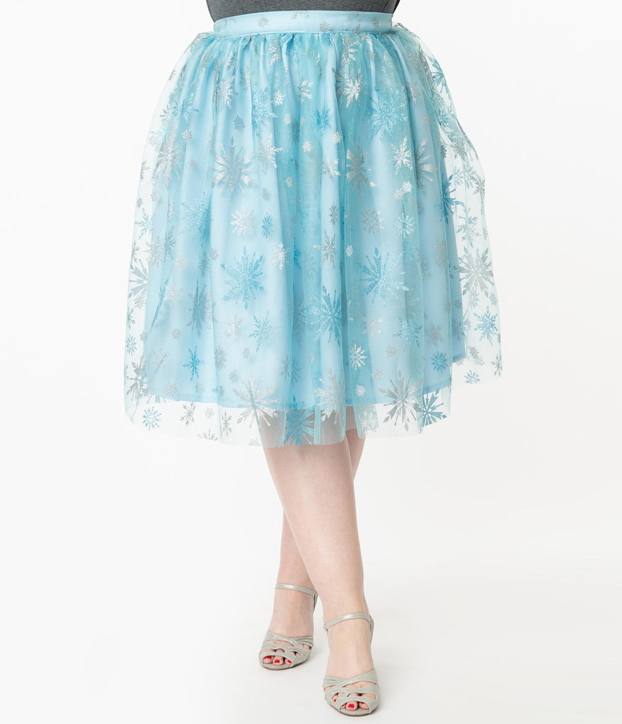 Plus Size Light Blue & Silver Snowflake Tulle Swing Skirt