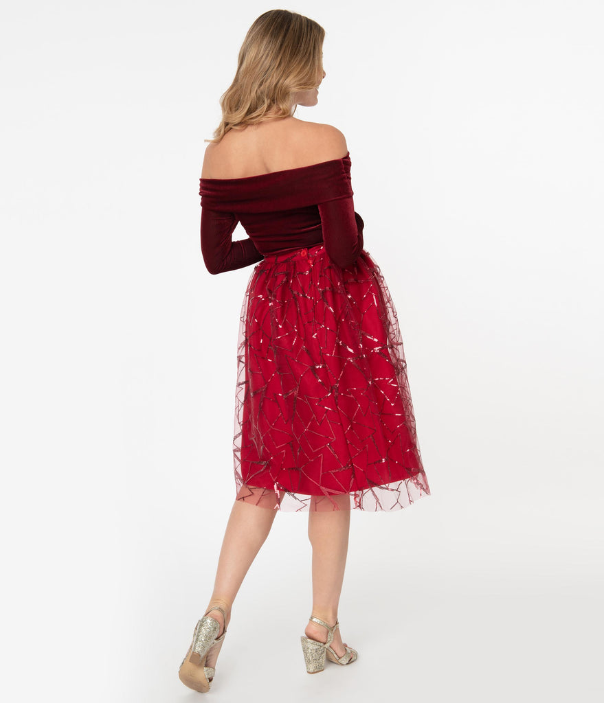 Burgundy Sequin Geometric Pattern Tulle Swing Skirt