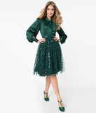 Magnolia Place Emerald Sequin Geometric Pattern Tulle Swing Skirt