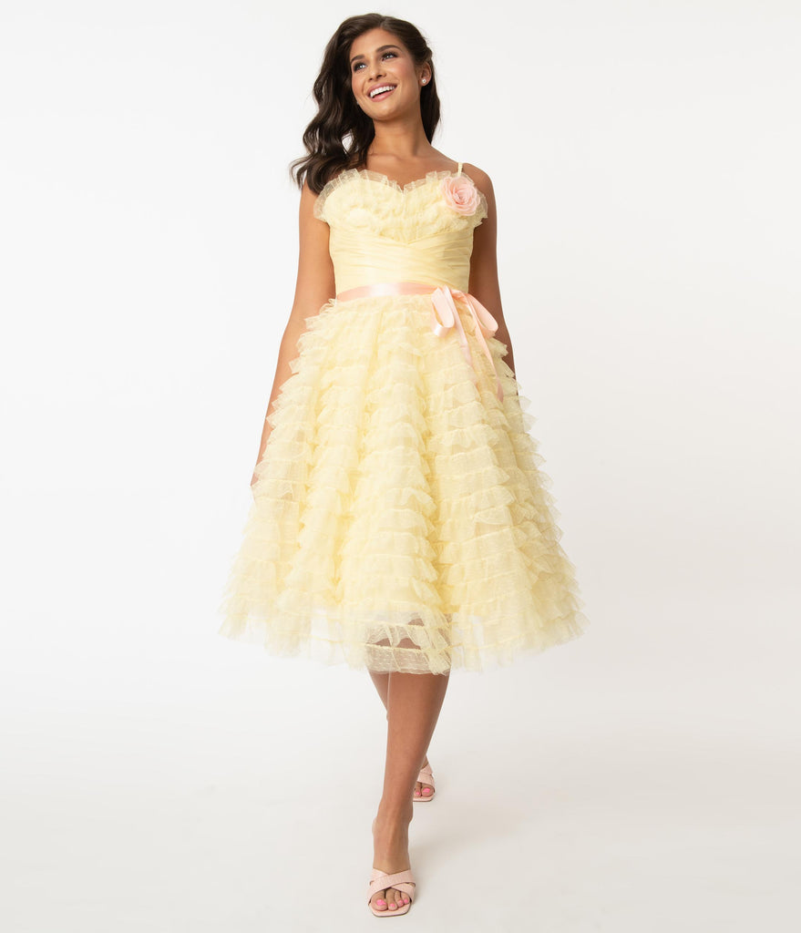 Grease x Unique Vintage Yellow Tulle Frenchy Swing Dress