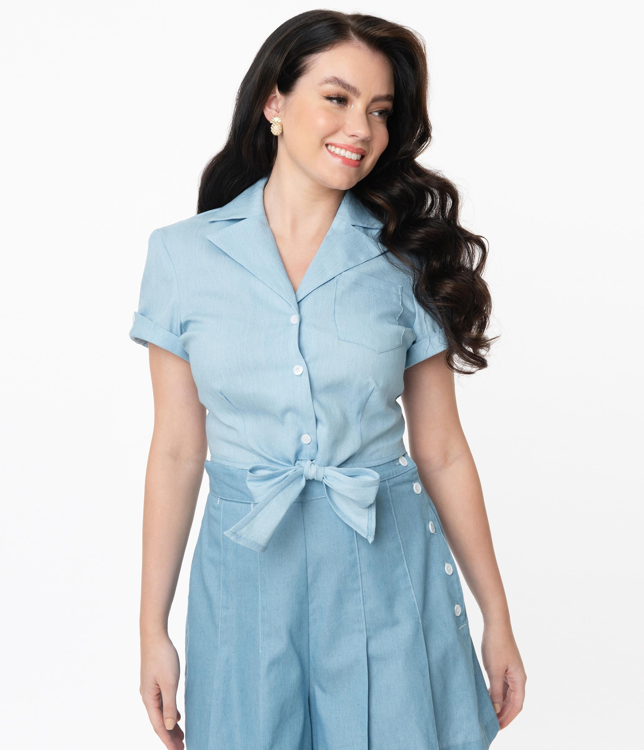 1940s Blouses and Tops Unique Vintage Chambray Blue Shirley Crop Top $48.00 AT vintagedancer.com