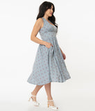 Unique Vintage Light Blue Gingham & Cherry Print Shelia Swing Dress