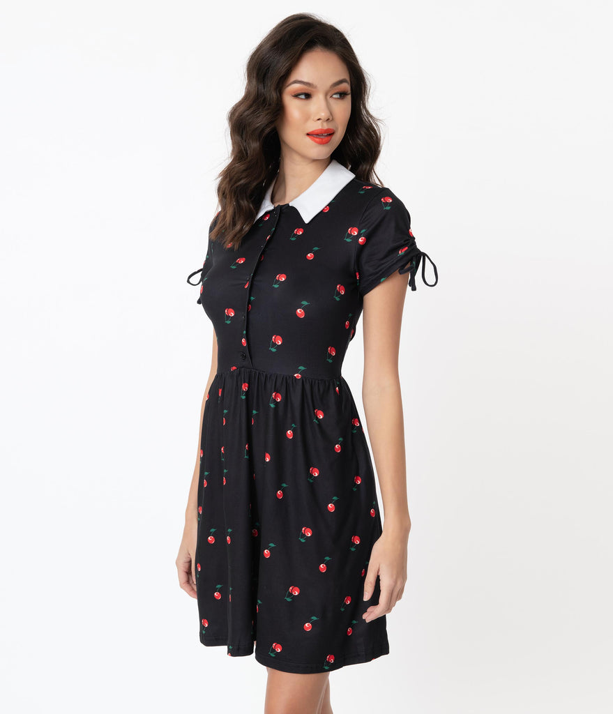 Unique Vintage Black & Cherry Print Brady Flare Dress