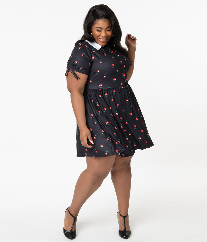 Unique Vintage Plus Size Black & Cherry Print Brady Flare Dress