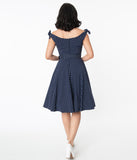 Unique Vintage Navy & White Pin Dot Prairie Swing Dress