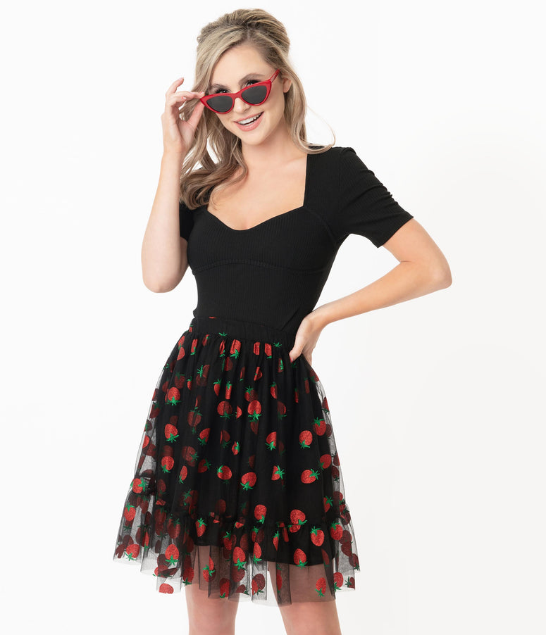 Smak Parlour Black & Strawberry Print Twirl Power Skirt