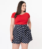 Unique Vintage Plus Size Navy Blue & White Polka Dot Kelly Shorts